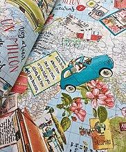 HomeBuy Bon Voyage Vintage Map Travel Designer