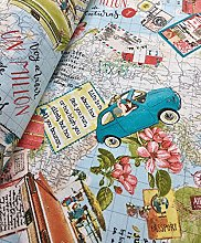 HomeBuy Bon Voyage Vintage Map Travel Designer