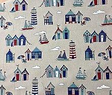 HomeBuy Little Beach Huts Marine Print Fabric -