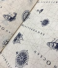 HomeBuy NAUTICAL MARINE MAP Print Fabric - Curtain