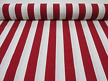 HomeBuy RED White Striped Fabric - Sofia Stripes