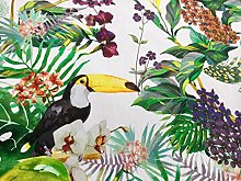 HomeBuy Tropical Toucan Bird & Garden Fabric