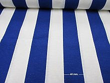 HomeBuy White Blue Striped Fabric - Sofia Stripes