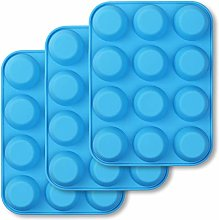 homEdge 12-Cup Silicone Muffin Pan, Pack of 3