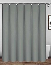 Homehold 180x220cm Gray Shower Curtain With Hooks,