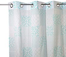 Homemaison Curtain Voile Printed Azulejos, Cotton,