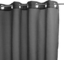 Homemaison Curtain with Flock, Polyester, Black,