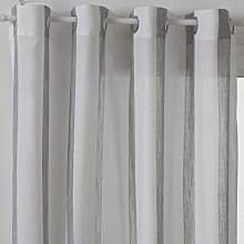 Homemaison Curtain with Stripe, Polyester, grey,