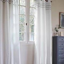 Homemaison Curtain with Three Horizontal Stripe,