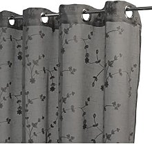 Homemaison Embroidered Curtain with Flower Design, Polyester, grey, 250x140 cm