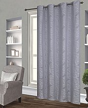Homemaison Embroidered Leaves Curtain, Polyester,