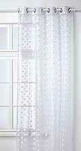 HomeMaison Embroidered Organza Curtain, white, 130