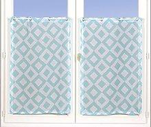 Homemaison Pair of Curtain with Diamond Pattern,
