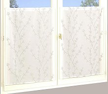 Homemaison Pair of Embroidered Curtain, Polyester,