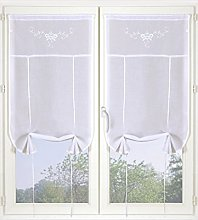 Homemaison Pair of Embroidered Muslin Net Curtain