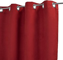 Homemaison Plain Suede Curtain, Polyester, red,