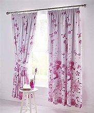 Homemaker Lined curtains pair of pencil pleat pink