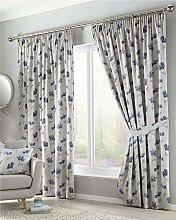 Homemaker Lined curtains pencil pleat blue flower