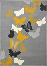 Homemaker Pastel Butterfly Rug - 120x170cm - Grey