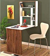 Homemania Desk Magicbox 62x16x82cm White and Walnut