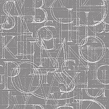 Homemania Grey Printed Rug with Alphabet Design
