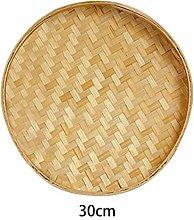 Homemust Bamboo Wood Round Serving Tray Organizer