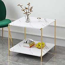 HomeSailing 2 Tiers White Small Side Sofa Table
