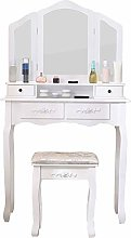 HomeSailing EU Dressing Table White with 3 Large