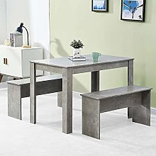 Homesailing EU Wood Dining Table with Two Benches