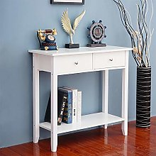 HomeSailing White Console Table with 2 Drawers and