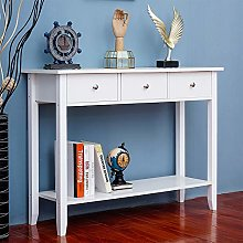 HomeSailing White Console Table with 3 Drawers and