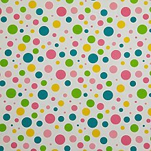 HOMESCAPES 100% Cotton Blue, Pink & Yellow Polka