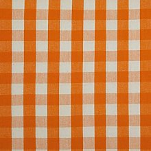 HOMESCAPES 100% Cotton Orange Gingham Furnishing