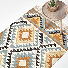 HOMESCAPES Agra Handwoven Kilim Wool Rug, Multi