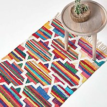HOMESCAPES Amsterdam Handwoven 100% Cotton Rug,