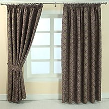 HOMESCAPES Aubergine and Gold Patterned Curtain