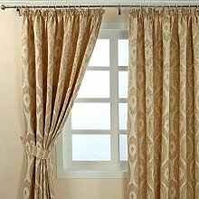 HOMESCAPES Beige and Gold Jacquard Curtain Pair