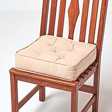 HOMESCAPES Beige Dining Chair Booster Cushion