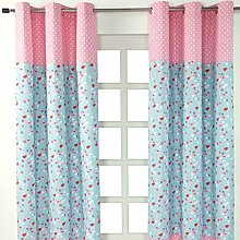 HOMESCAPES Bird and Flowers Eyelet Curtains 100%