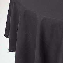 HOMESCAPES Black Cotton Round Tablecloth 6 to 8