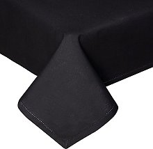 HOMESCAPES Black Cotton Tablecloth 6 to 8 seater