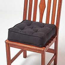 HOMESCAPES Black Dining Chair Booster Cushion