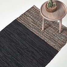 HOMESCAPES Black Genuine Leather Rug Handwoven