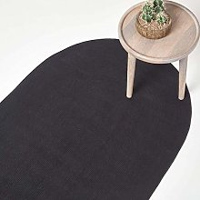 HOMESCAPES Black Handmade Braided Oval Rug For