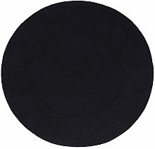 HOMESCAPES Black Handmade Braided Round Rug For