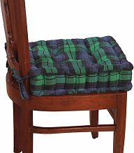 HOMESCAPES Blue and Green Tartan Dining Chair