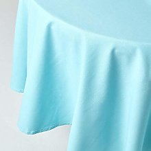 HOMESCAPES Blue Cotton Round Tablecloth 6 to 8