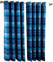 HOMESCAPES Blue Eyelet Curtain Pair 137cm