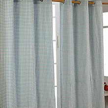 HOMESCAPES Blue Gingham Check Eyelet Curtain Pair