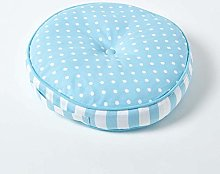 HOMESCAPES Blue Round Floor Cushion Large
